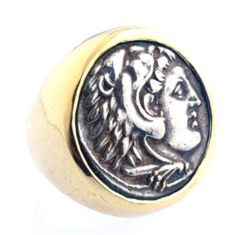 Gold Ring with Silver Coin of Alexander the Great