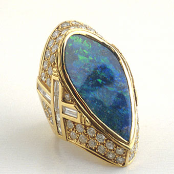 Diamond Studded Gold Ring with an Australian Opal