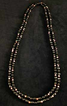 Black Onyx and Coral Bead Necklace