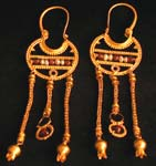 Byzantine Revival Earrings with Garnets And Pearls