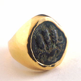 Gold Ring Featuring a Bronze Coin of King Agrippa I