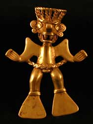Diquis Gold Pendant of a Shaman Wearing a Saurian Mask