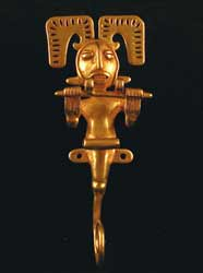 Cauca Gold Pendant of a Human/Sea Horse Composite Creature