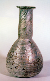 Glass Vase with Marblized Iridescence