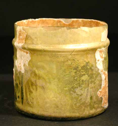 Roman Yellow-Green Glass Pyxis