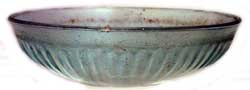 Roman Aquamarine Glass Ribbed Bowl