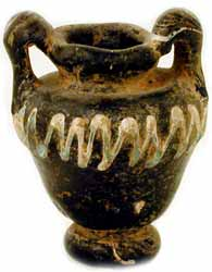 Byzantine Black Glass Carinated Vase