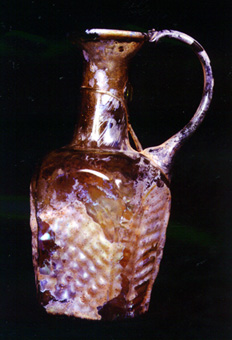 Byzantine Period Mold-Blown Light Honey Color Glass Jug