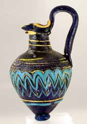 Dark Blue Glass Trefoil Oinochoe