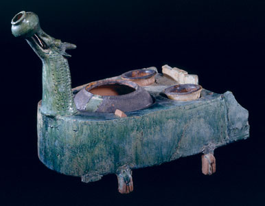 Han Green-Glazed Stove in the Form of a Dragon