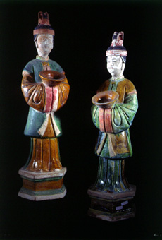 Pair of Ming Glazed Terracotta Attendants Holding Bowls