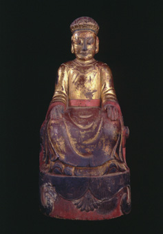 Ming Gilt Wooden Sculpture of a Folk Deity
