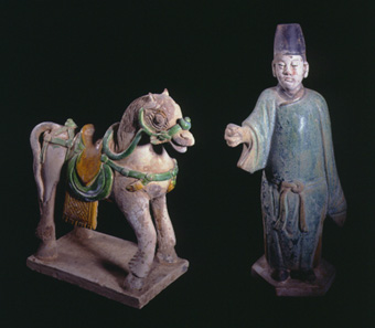 Ming Glazed Terracotta Sculptures of a Horse and a Civic Official