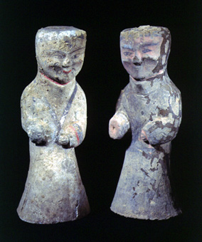 Pair of Western Han Painted Terracotta Attendants