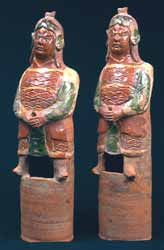 Pair of Ming Glazed Terracotta Military Figures