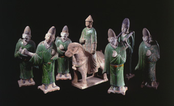 Set of Six Ming Glazed Terracotta Figures and a Horse and Rider