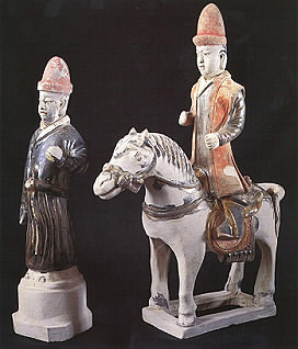 Ming Glazed Terracotta Sculptures of a Horse and Rider and an Attendant