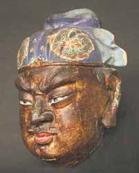 Ming Gilt and Painted Head of a Celestial Guardian