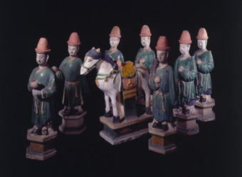 Set of Seven Ming Glazed Terracotta Attendants and a Horse