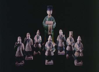 Set of Ming Dynasty Glazed Terracotta Sculptures Featuring a Dignitary and Seven Attendants