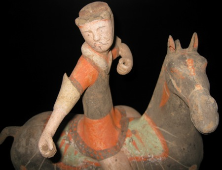 Han Polychrome Horse and Polo Player
