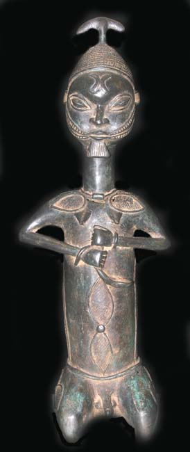 Yoruba Brass Onile Sculpture of a Kneeling Woman