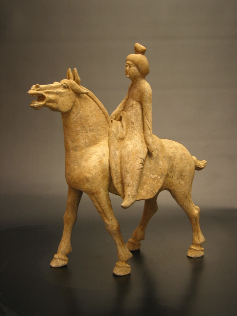 Early Tang Painted Pottery Horse with Detachable Lady Rider
