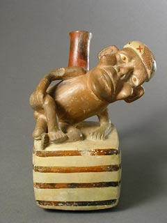 Moche Vessel Depicting an Ithyphallic Man with an Amputated Nose