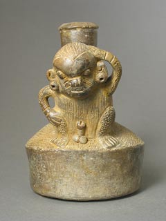 Chavin Greyware Stirrup Vessel Depicting a Monkey