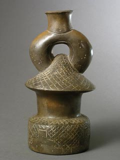 Chavin Blackware Stirrup Vessel in the Form of a Temple