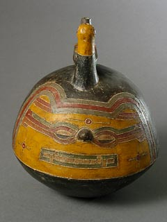 Paracas Culture Effigy Pot Depicting a Feline Deity