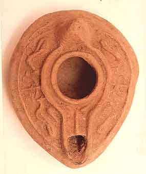 Oil Lamp with Bird Motifs