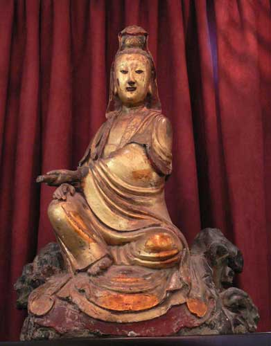 Gilded Wooden Sculpture of a Seated Guanyin