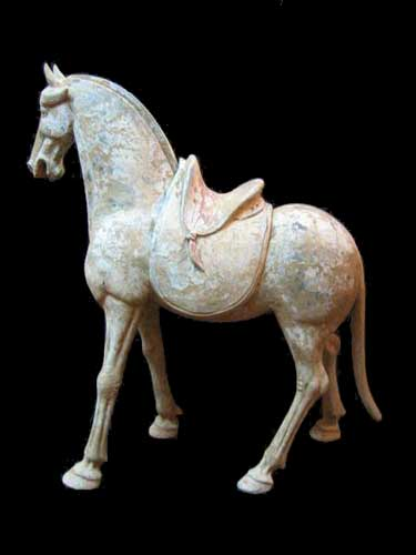 Painted Pottery Horse with Detachable Saddle