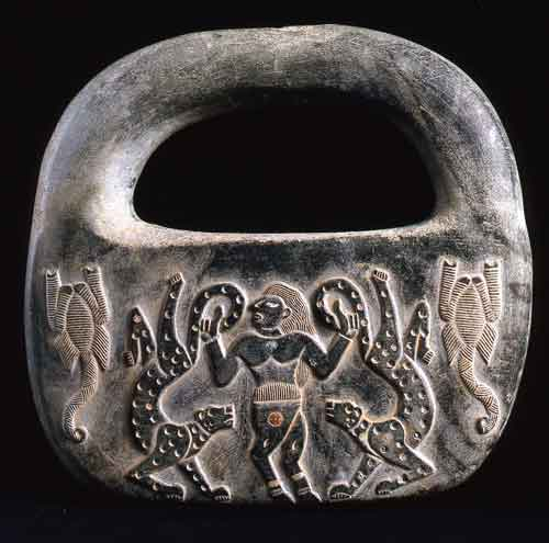 Intercultural Style steatite lock-shaped weight
