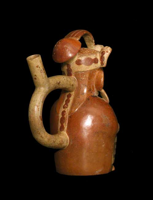 Moche Stirrup Vessel Depicting a Seated Man