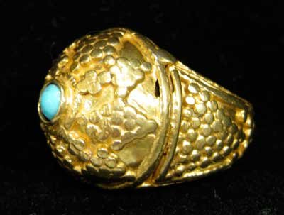 Turquoise Set in Gold Ring