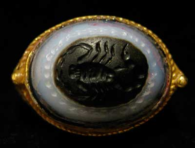 Agate Scorpion Seal Set in a Gold Ring