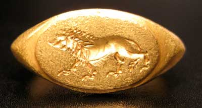 Gold Seal Ring with Zoomorphic Motif