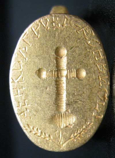 Byzantine Style Gold Seal Ring with Cross