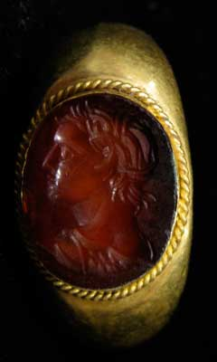 Carnelian Seal Set in Gold Ring