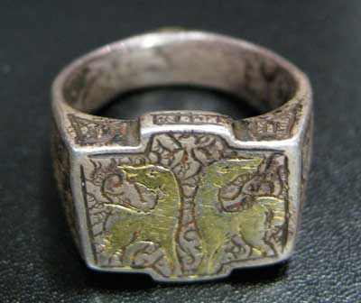 Seljuk Incised Silver Ring with Gold Inlay