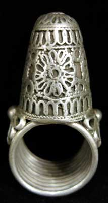 Ottoman Silver Ring with Relief Decoration