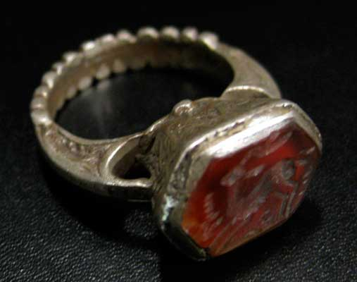Carnelian Seal of an Ibex Set in a Silver Ring