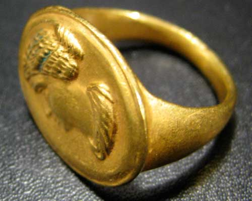 Gold Ring with Female Portrait  Of An Empress