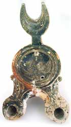 Oil Lamp with Crescent Handle and Two Spouts
