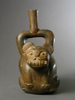 Chavin Stirrup Vessel in the Form of a Jaguar