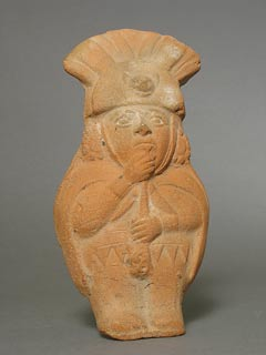Moche Molded Whistle Depicting a Standing Noble
