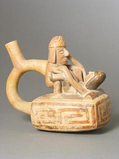 Moche Stirrup Vessel Depicting an Erotic Scene