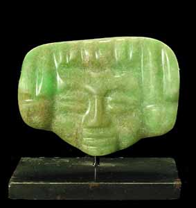 Mayan Jade Pendant Depicting a Human Face